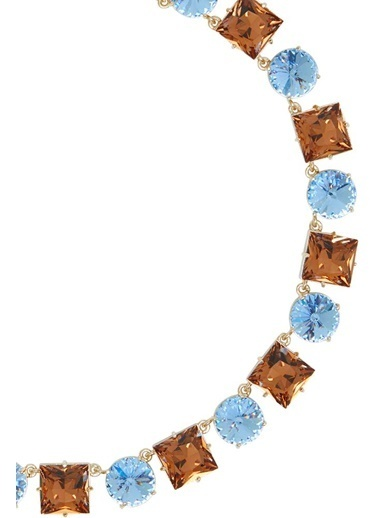 Ninon Anna Sky Blue & Whiskey Kristal Kolye Mavi